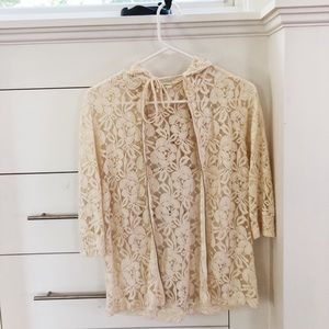 Urban Outfitters White Lace Zip-Up Hoodie